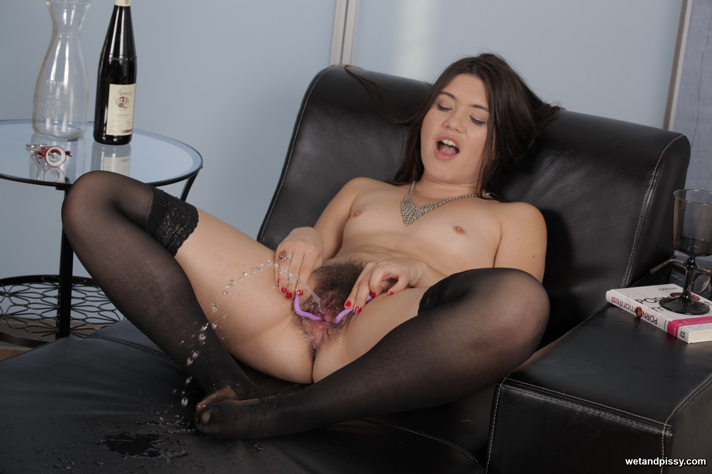 time stockings pee First brunette
